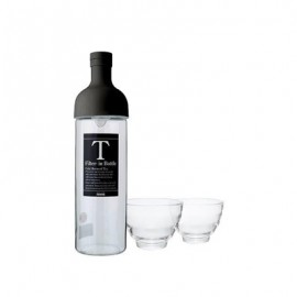 Hario Filter in Bottle & Tea Glass Set  Black