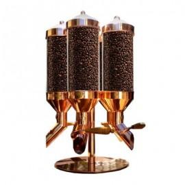 Oggetti Kahve Silosu, 3 Hazneli, Cam Hazne, Kapasite 15 kg, 15x60 cm, Bakır